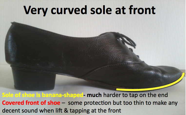 Higher heel and medium width heel curved sole shoe for dancing