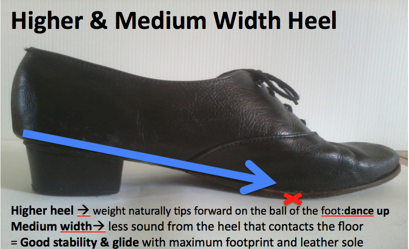 Higher heel and medium width heel shoe for dancing