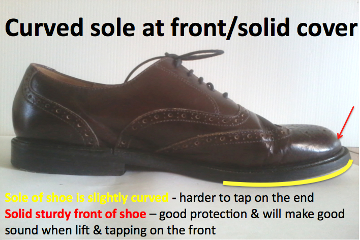 Low and wide heel shoe curved at front for dancing
